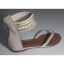 Sandália Areia Pedraria Rasteirinha Sapatos