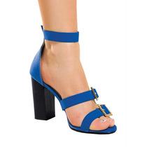 [cld-0022] Sandália Salto Robusto Com Fivelas Azul