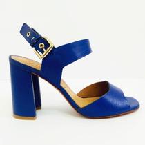 Sandália Vicenza De Couro Craquele Azul Salto Bloco