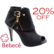 20% Off Peep Toe Bebecê Ankle Boot Fivela Preto Salto 10 Cm