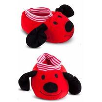 Pantufa Pelúcia Infantil Cachorro Vermelho Cortex