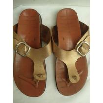 Sandalia Em Couro Dourado C/ Palmilha Anatomica Nº 36