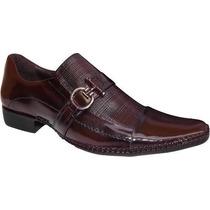 Sapato Social Masculino Vinho Luxo Lançamento Couro Franca