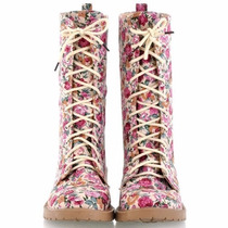 Bota Coturno Floral Vintage Retro Sapato Feminino Importado