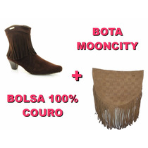 Bota Feminina Mooncity Com Franja + Bolsa 100% Couro