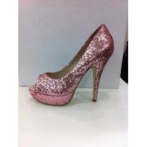Sapato Peep Toe Glitter Rosa Gino Ventori
