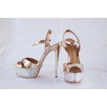 Sandália Dourada E Prata Schutz