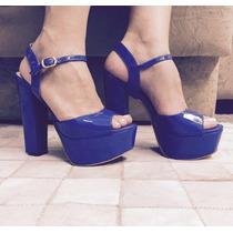 Sandália Azul Salto Alto Grosso Verniz Marca Leluel Shoes