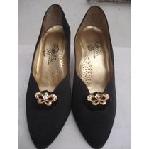 Sapato De Festa Em Cetim C/ Broche Dourado C/ Strass Nº 38