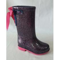 Galocha (bota) Barbie Lilas Gliter/rosa Juvenil Emborrachada
