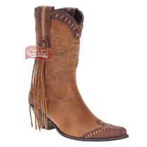 Bota Feminina Texana Bico Fino Com Salto Rústico - West Coun