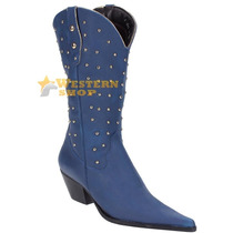 Bota Texana Feminina Azul Bico Fino C/ Rebites No Cano - Ara
