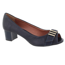 Peep Toe Eco Lezard Marinho Via Uno