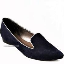 Sapatilha Slipper Bico Fino Givit Couro Azul Marinho N 37 38
