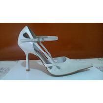 Sapato Feminino Scarpin Branco Bico Fino 34 Seminovo