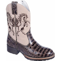 Bota Texana Infantil Country Rodeo Western Couro Jacaré