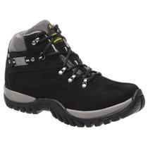 Bota Coturno Adventure Tchwm Shoes Em Couro Nobuck Preto