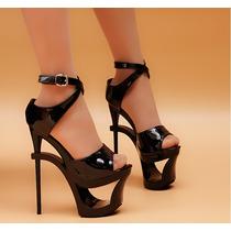 Sapato Importado Feminino Salto Alto Preta