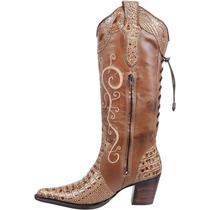 Bota Country Fem Texana Jacaré Capelli Boots Franca Couro