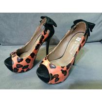 Sapato Feminino Salto Alto Di Cristali Onça Verniz Tam 34