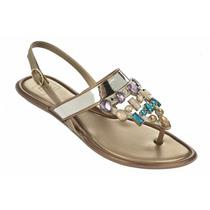 Rasteira Grendha Diamantes - Dourada - Molesinha Calçados