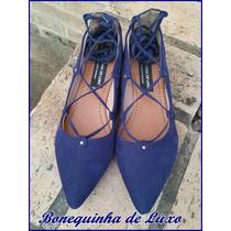 Sapatilha Bico Fino Azul De Amarrar - Lace Up Flats