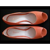 Sapato Peep Toe Em Couro Nobuck Coral Da Datelli