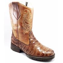 Bota Texana Escamada Country Cano Longo Couro Leg Feminina