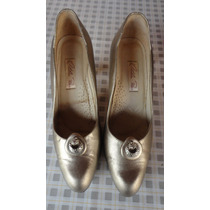 Sapato Feminino Salto Baixo Dourado Verniz Otília Reis
