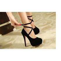 Peep Toe Sapatos Salto Alto 12cm