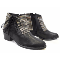 Bota Tanara Ankle Boot T0306 Salto Cano Baixo
