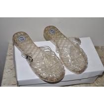 Sandália Li Vip Shoes Transparente Com Dourado Nº 34
