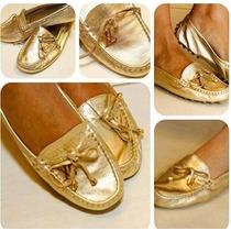 Sapatilha Lv / Mocassim Feminino Dourada