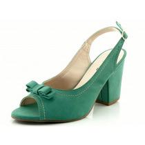 Sandália Glamm Laço E Salto Quadrado Verde - Sapatos Mania