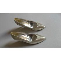 Sapato Czarina Prata Com Fios Dourados - Tamanho 34
