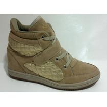 Sneaker Beje / Dourado - Velcro E Cadarço. Frete Grátis