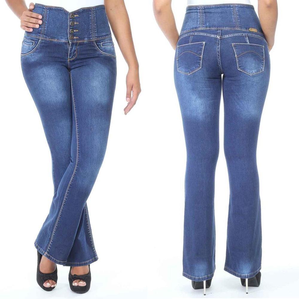 0d6aa687f Sawary Calça Jeans Levanta Bumbum Cintura Alta Corset Flare (Sawary ...