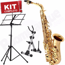 Kit Saxofone Alto Laq. Sa501 Eagle Mib Case + Estante + Sup.