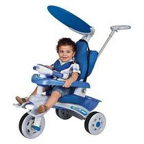 Triciclo Fit Trike Azul Som E Luz Estofado Frete Grátis