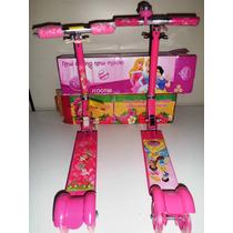2 Patinetes Infantil 3 Rodas C/luzes Moranguinho E Princesas
