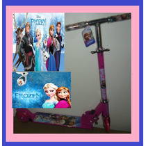 Patinet Infantil 2rodas Frozen Disney Rosa Scooters Dobravel