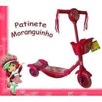 Patinete Tres Rodas Musical Com Cestinha Moranguinho