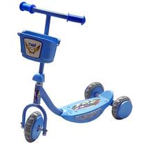 Patinete Infantil 3 Rodas Triciclo Com Luz Led Música Azul