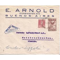 Zeppelin-argentina-carta A Alemanha-1° Voo-1931-carimbos