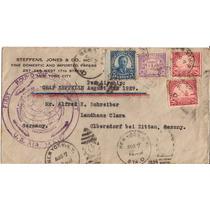 Zeppelin-envelope Carimbo Espl. Round Mundial- Usa-alemanha