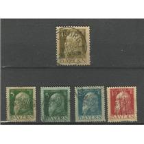 Lote C/ 5 Selos Alemanha Estados Antigos - Bavária - 1911