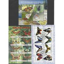 L635-borboletas-coleção C/ 10 Folhas Selos Fauna Diferentes