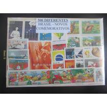 500 Selos Diferentes Do Brasil Todos Comemorativos Novos