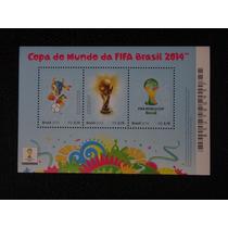 Copa Mundo Da Fifa Brasil 2014 Bloco 3 Selos Fuleco Taça