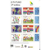 Brasil-selando O Futuro-meia Folha Com 4 Etiquetas-novo